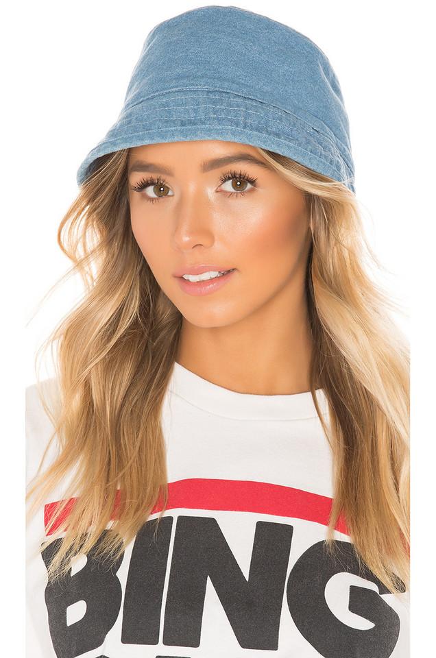 Hat Attack Washed Cotton Bucket Hat in denim / denim