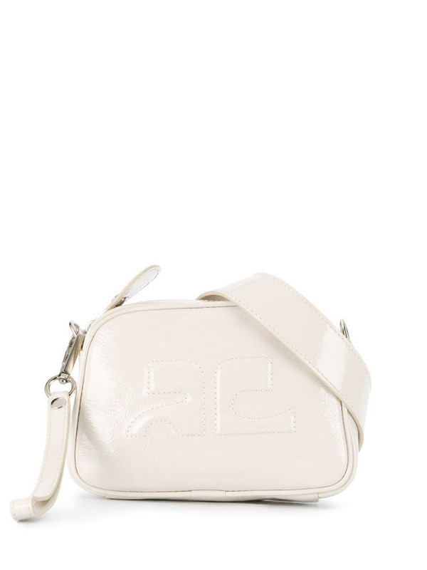 Courrèges logo embossed leather belt bag in white