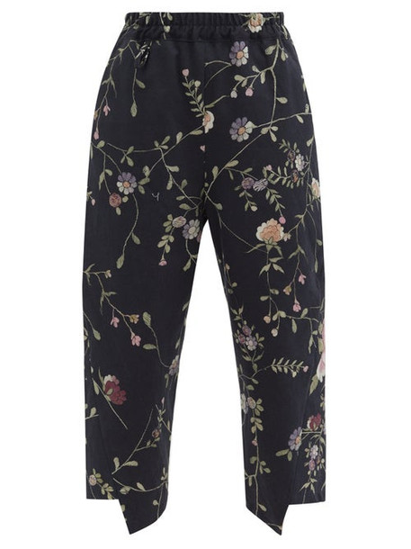 By Walid - Artem Floral-jacquard Cotton-canvas Trousers - Womens - Black Multi