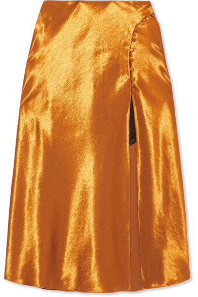 Jonathan Simkhai - Satin Midi Skirt - Gold