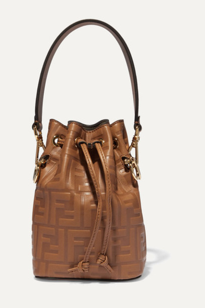 Fendi - Mon Trésor Mini Embossed Leather Bucket Bag - Brown
