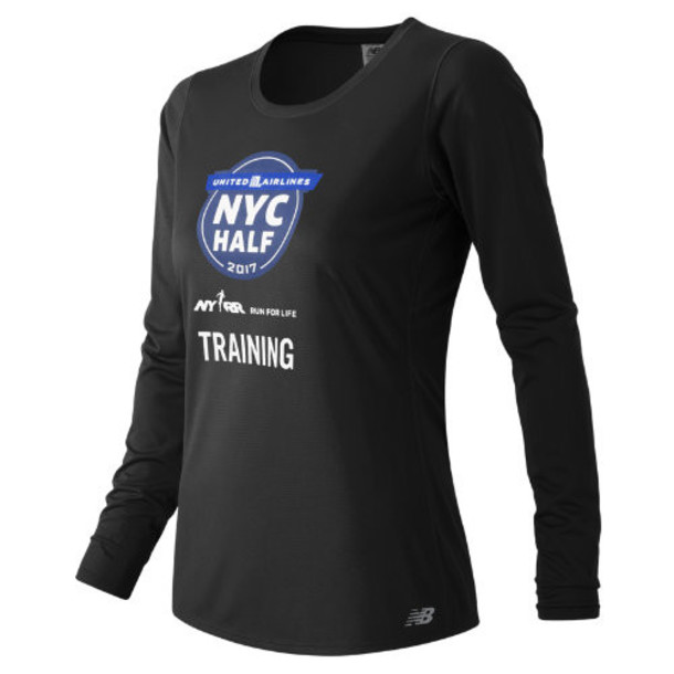 New Balance 53142 Women's United NYC Half Training LS Tee - Black (WT53142VBM)