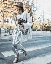 pants,straight pants,high waisted pants,silver pants,cowboy boots,isabel marant,black bag,fendi,white jacket,oversized jacket,white t-shirt,felt hat