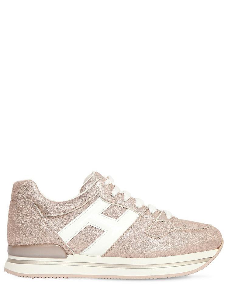 HOGAN 45mm H222 Lamè Leather Sneakers in pink