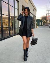 shoes,jacket,black blazer,leather,black boots,black dress,mini dress,black bag,backpack