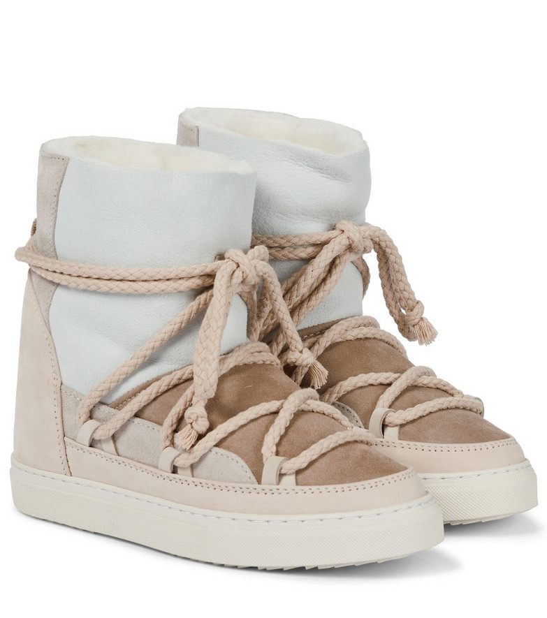 INUIKII Shearling-lined leather ankle boots in white