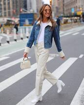 jacket,denim jacket,faux fur,white boots,heel boots,high waisted pants,handbag,white bag,white t-shirt
