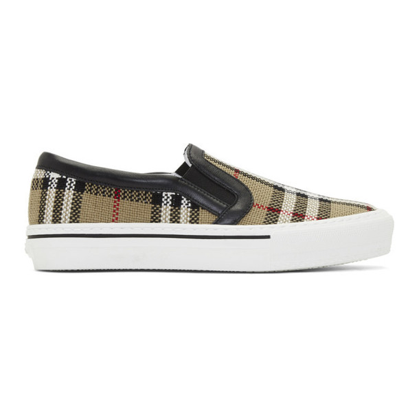 Burberry Beige Delaware Monogram Slip-On Sneakers