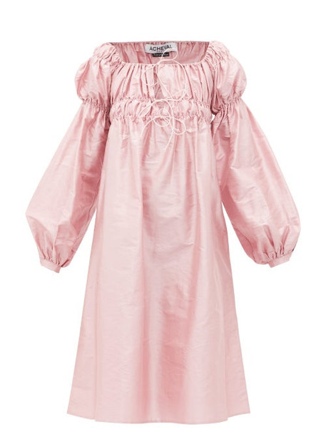 Àcheval Pampa Àcheval Pampa - Antonia Off-the-shoulder Shantung-silk Dress - Womens - Pink