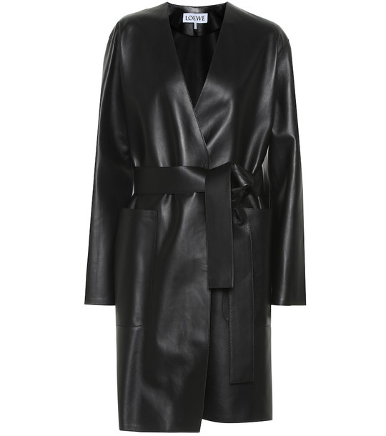 Loewe Leather coat in black