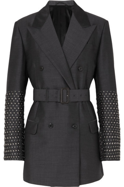 Prada - Studded Double-breasted Mohair And Wool-blend Blazer - Gray