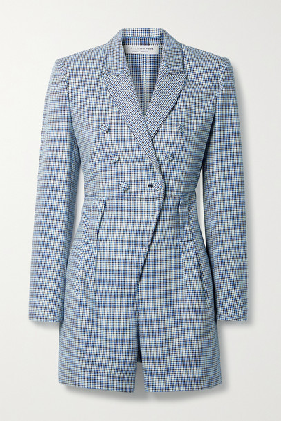 PHILOSOPHY DI LORENZO SERAFINI - Double-breasted Houndstooth Cotton Playsuit - Blue
