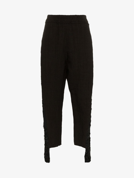 By Walid Sally embellished leg linen trousers in black