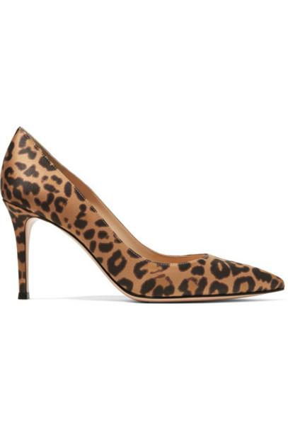 Gianvito Rossi - 85 Leopard-print Satin Pumps - Leopard print