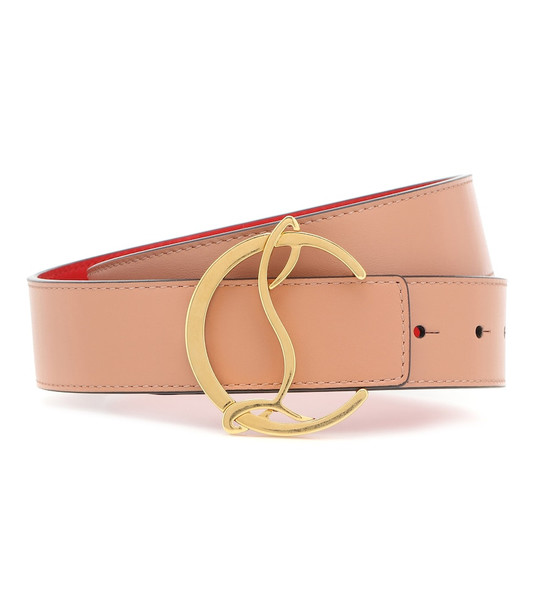 Christian Louboutin CL Logo leather belt in pink
