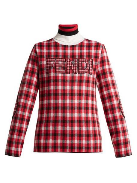 Fendi - Checked Logo Virgin Wool Roll Neck Sweater - Womens - Red Multi