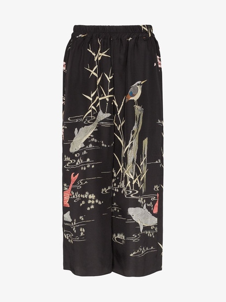 By Walid printed wide leg silk trousers in black