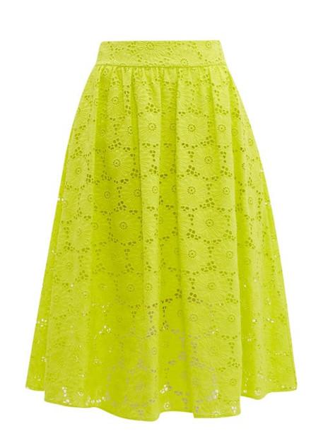 Diane Von Furstenberg - Tara High Rise Broderie Anglaise Cotton Midi Skirt - Womens - Yellow