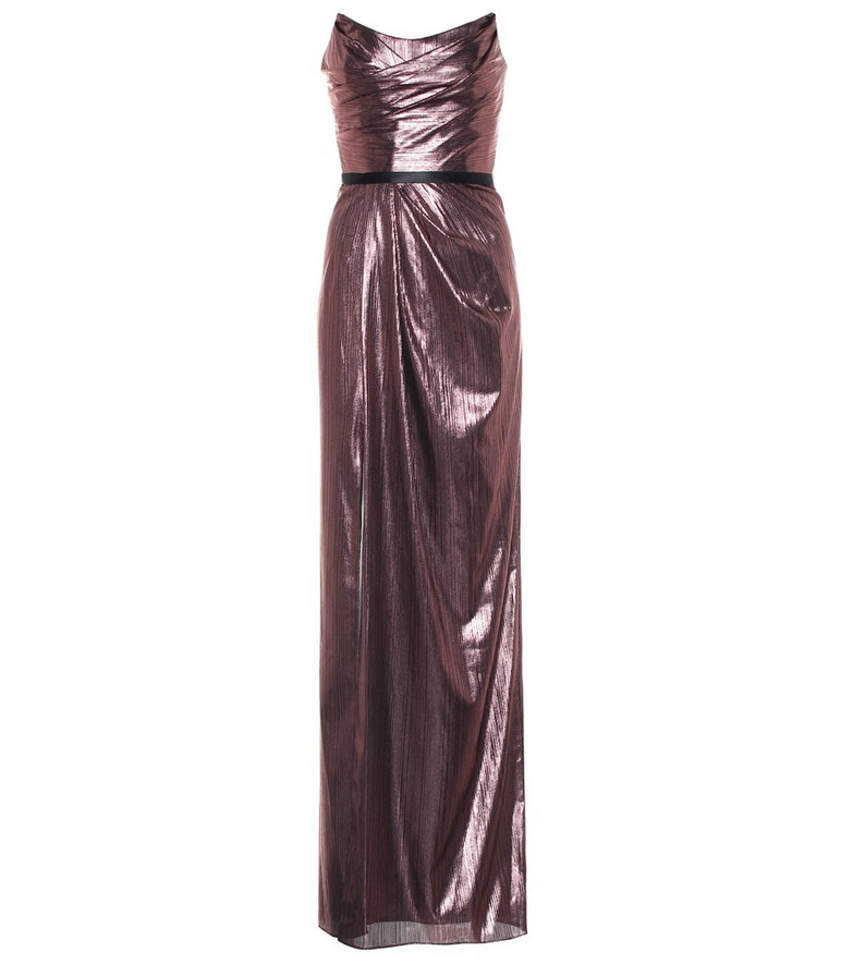 Marchesa Notte Stretch-lamé gown in metallic