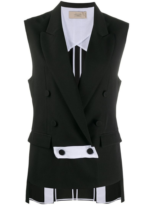 Maison Flaneur sleeveless double-breasted blazer in black