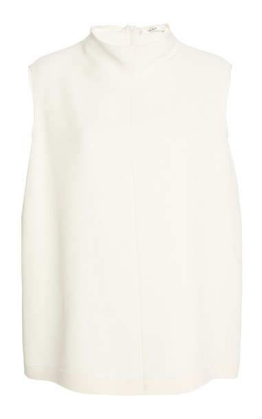 The Row Emir Silk Crepe Mockneck Top in white
