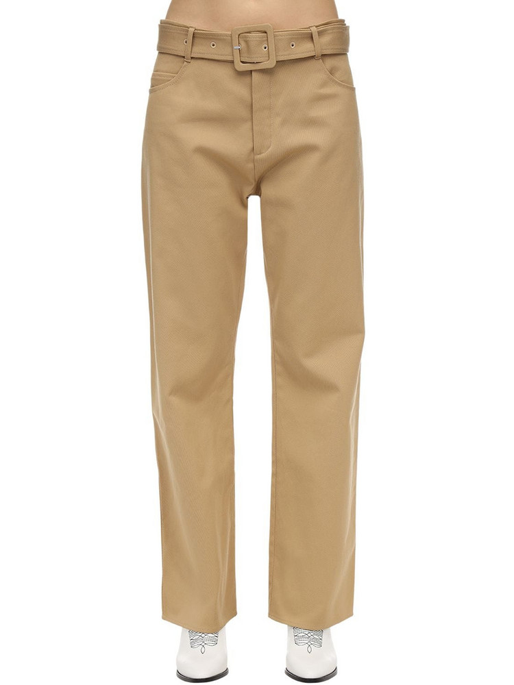 COURREGES Belted Cotton Twill Wide Leg Pants in camel