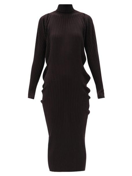 Bottega Veneta - Seamless Roll-neck Wool Sweater Dress - Womens - Brown