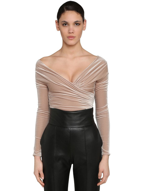 ALEXANDRE VAUTHIER Off Shoulder Stretch Velvet Bodysuit