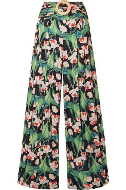 PatBO - Belted Pleated Floral-print Satin Wide-leg Pants - Green