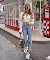 top,jeans,high waisted jeans,cropped jeans,white top,crop tops,gucci bag,white sneakers,sneakers