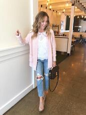 twopeasinablog,blogger,shorts,top,cardigan,jeans,shoes,pink cardigan,lace top,ripped jeans