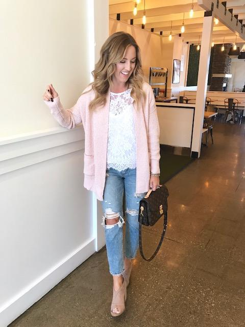 twopeasinablog blogger shorts top cardigan jeans shoes pink cardigan lace top ripped jeans