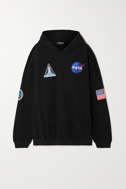 Balenciaga - Nasa Space Oversized Appliquéd Printed Cotton-jersey Hoodie - Black