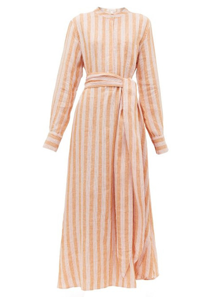 Wiggy Kit - Como Striped Linen Shirtdress - Womens - Pink Stripe
