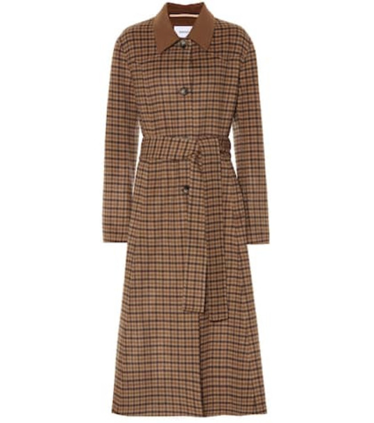 Nanushka Sira checked wool and silk coat in brown