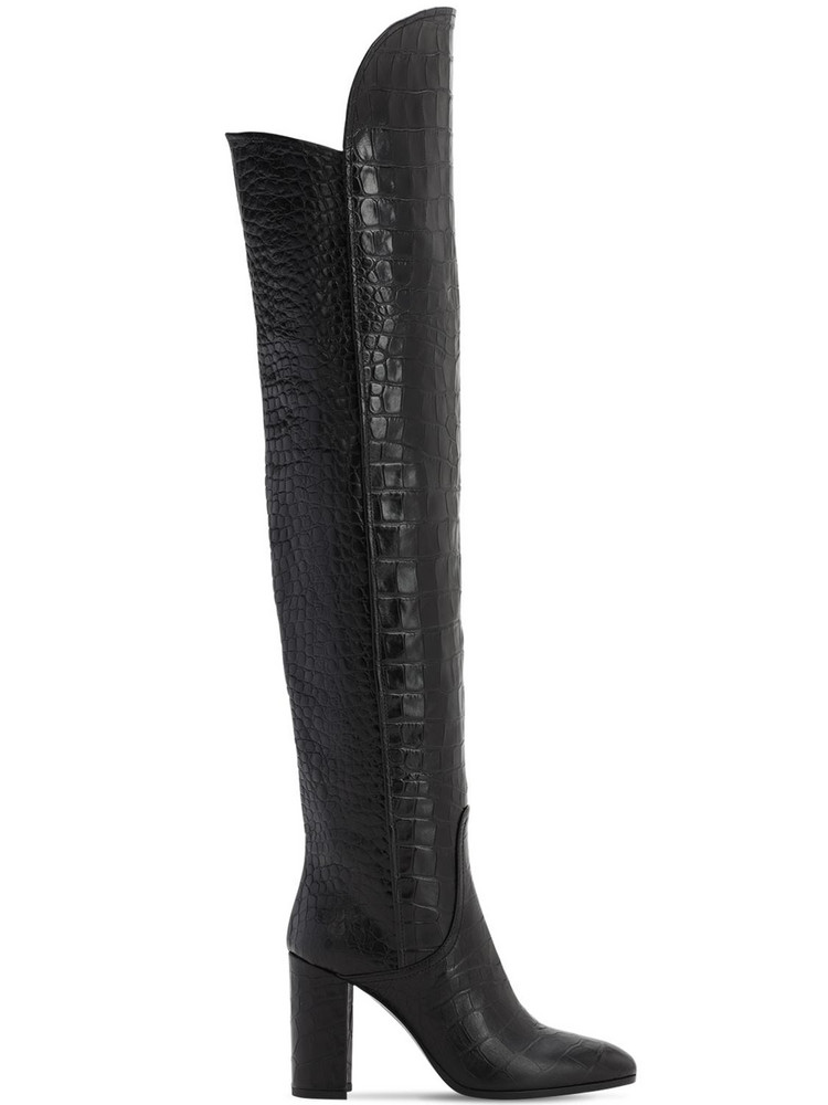 STRATEGIA 90mm Lady Croc Embossed Leather Boots in black