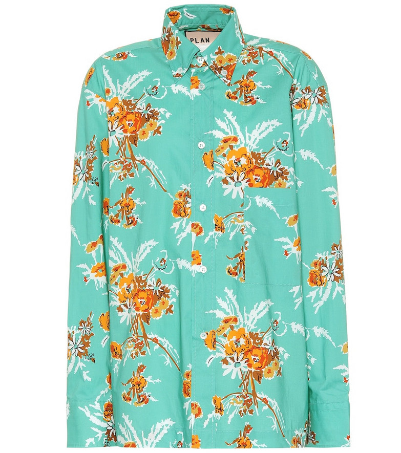 Plan C Floral cotton shirt in green