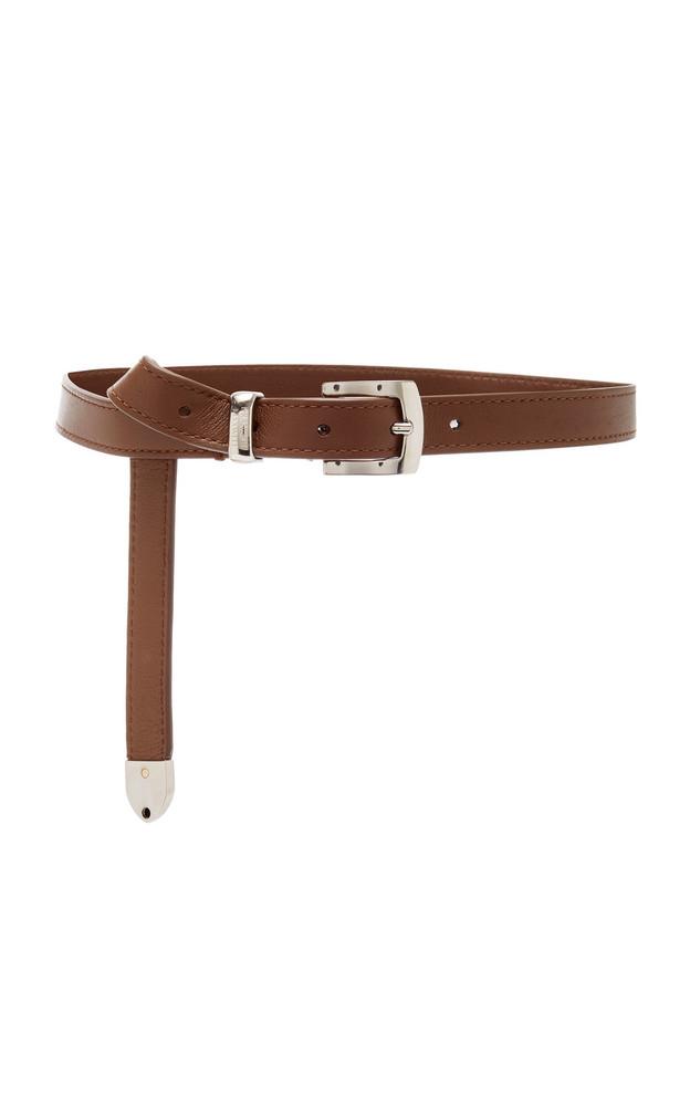 Brandon Maxwell Skinny Leather Belt in brown