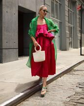 skirt,midi skirt,high waisted skirt,crop tops,pink,set,trench coat,slide shoes,chanel,handbag,white bag