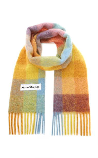 Acne Studios Vally Oversized Fringed Plaid Wool-Blend Scarf in multi