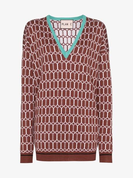 Plan C argyle knit jumper in brown