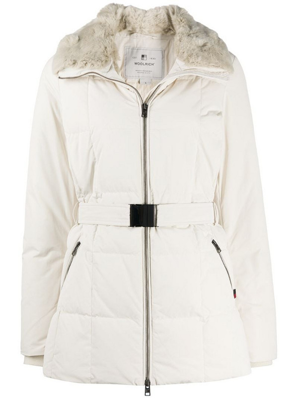 Woolrich belted padded coat in white