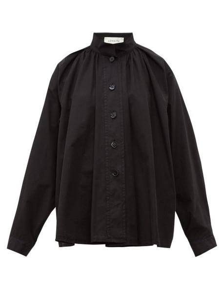 Lemaire - High Neck Cotton Poplin Shirt - Womens - Black