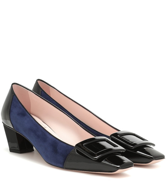 Roger Vivier Belle Vivier suede and leather pumps in blue