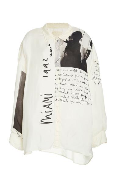R13 U2 Miami Oversized Printed Crepe Shirt in white