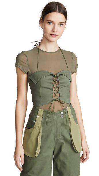 I.AM.GIA I.AM. GIA Eloise Corset with Mesh T-Shirt in khaki