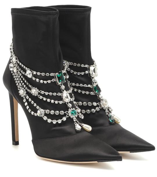 Jimmy Choo Lyja satin ankle boots in black
