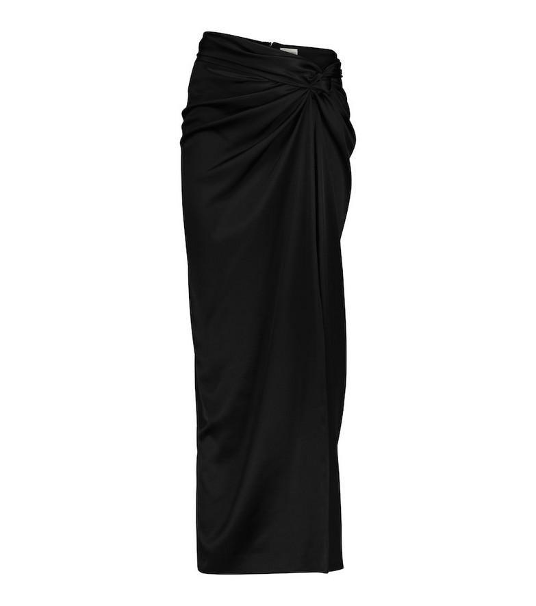 Magda Butrym Gathered stretch-silk satin midi skirt in black