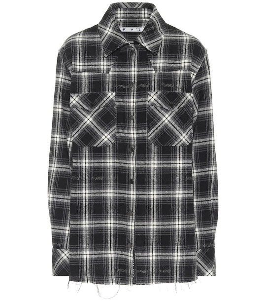 Off-White Checked cotton-blend flannel shirt in black