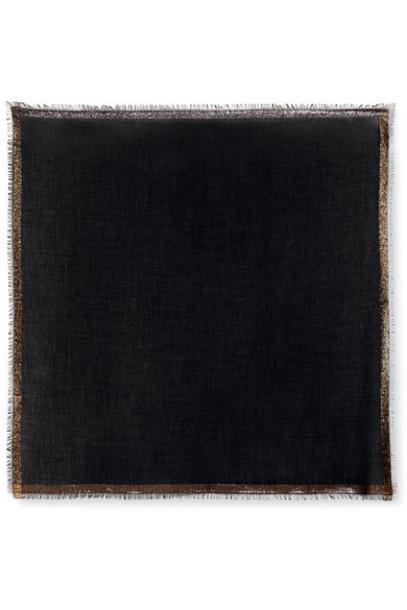 Loro Piana - Quadrata Luna Fringed Metallic Cashmere-blend Scarf - Charcoal